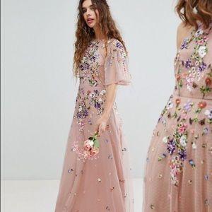 Floral embroidered dobby mesh flutter sleeve dress